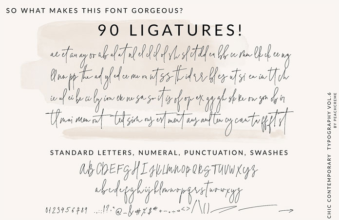 90 ligatures.