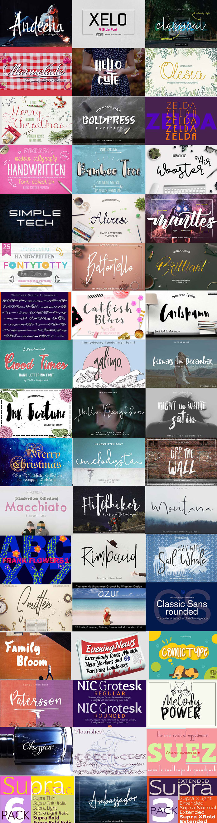 Overview of the Hipster fonts bundle.