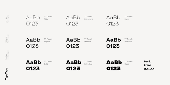TT Travels font family, 9 weights plus true Italics.