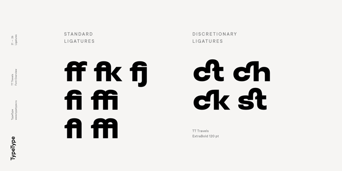 TT Travels font family, Standard Ligatures.