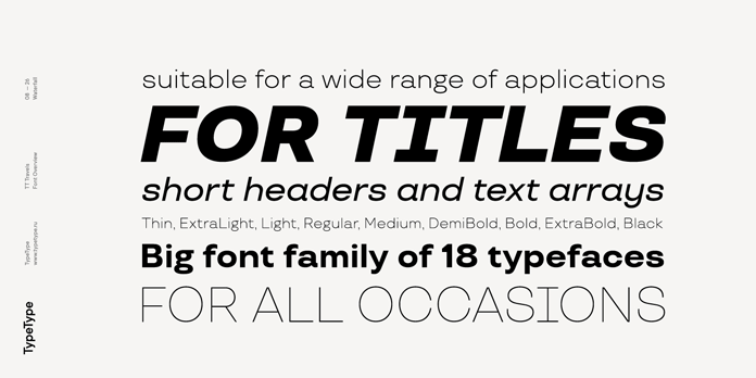 TT Travels font family, Suitable for a wide range of typographic applications.