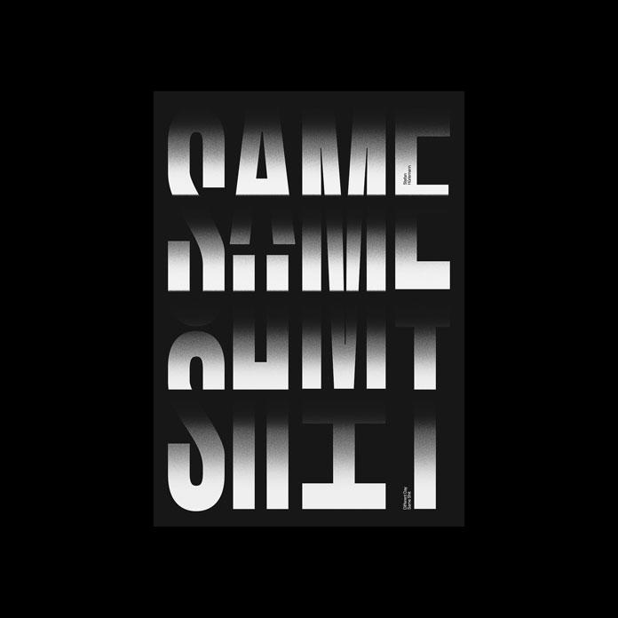 Black typographic posters by Stefan Hürlemann.