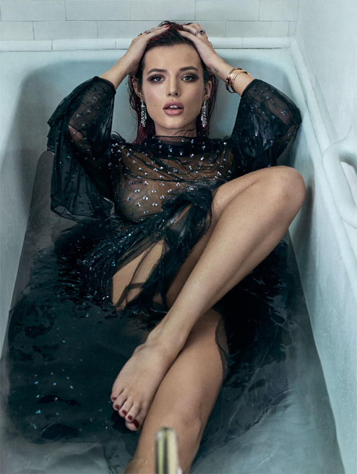 Michael Schwartz Photography, Cover for GQ with Bella Thorne wearing Bulgari and Dior in the bathtub.