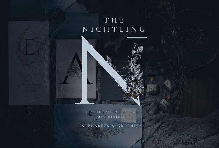 The Nightling - botanical line art and elegant letters designed by OpiaDesigns.