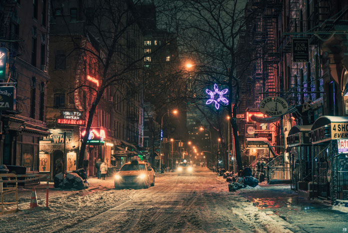 Franck Bohbot Photography, Colorful New York City on a cold winter night.