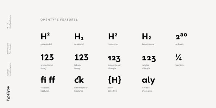 TT Wellingtons – OpenType features