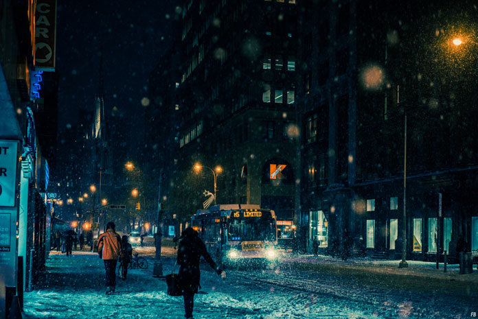 Franck Bohbot Photography, The street is colored by blue light.