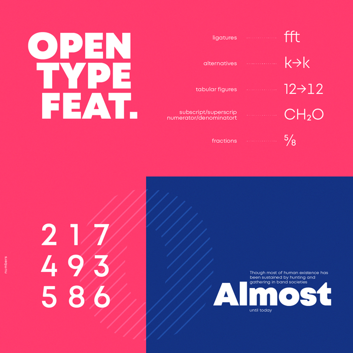 Mont font family, OpenType features.