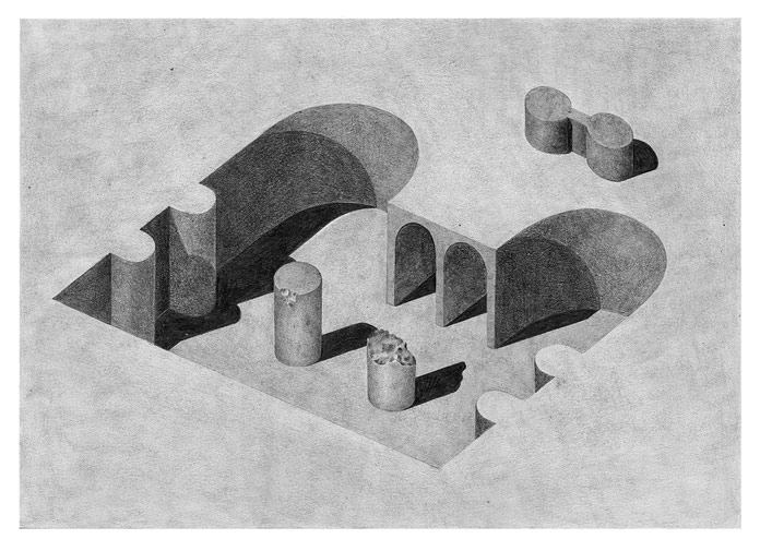 Pia-Mélissa Laroche, Inspired by architecture, the drawings are based on simple geometric shapes.