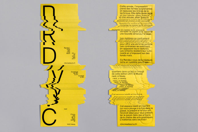 Cut-outs, textures, glossy varnish, and hot printed matter modify the typography.