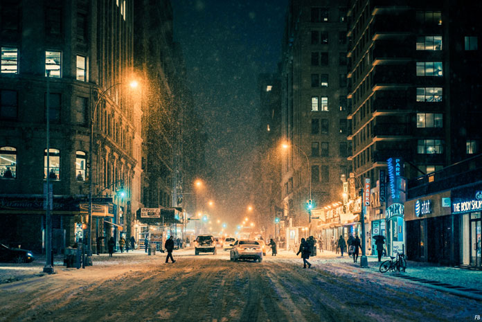 Franck Bohbot Photography, A snowy street at a late hour.