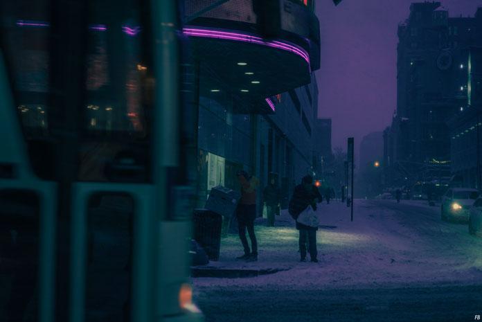 Franck Bohbot Photography, Purple neon light.