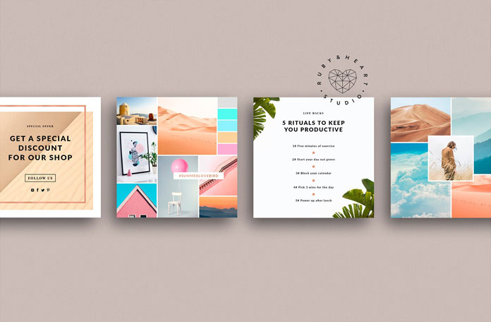 Animated Instagram Posts, Colorful layouts and designs.