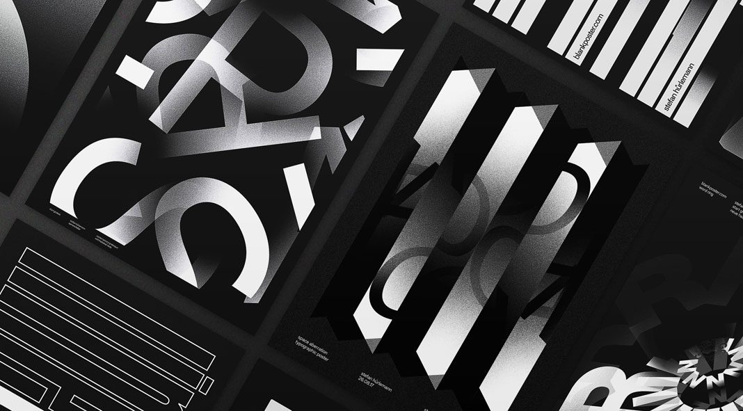 Black typographic posters by Stefan Hürlemann.
