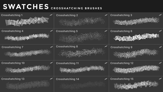 Crosshatching brushes for iOS app Procreate for iPad.