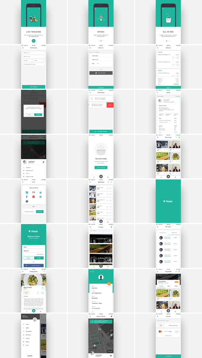 Diverse screens of the complete iOS ui kit for delivery and shopping apps.