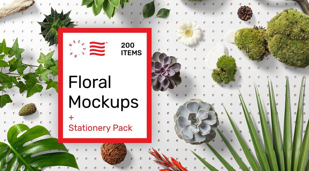 Floral mockups plus stationery pack with 200 items in total.