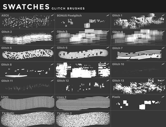 Glitch brushes for iOS app Procreate for iPad.