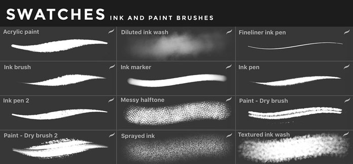 Ink and paint brushes for iOS app Procreate for iPad.