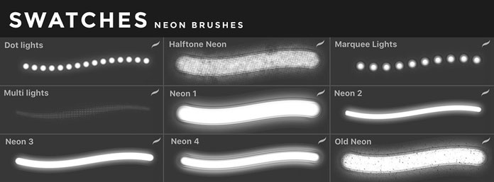 Neon brushes for iOS app Procreate for iPad.
