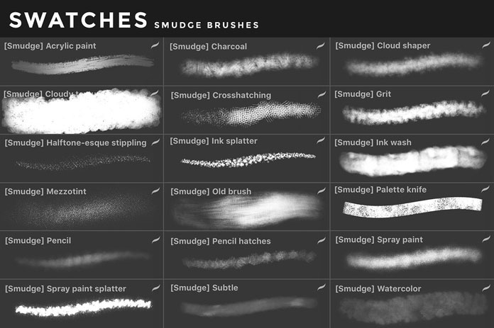 Smudge brushes for iOS app Procreate for iPad.