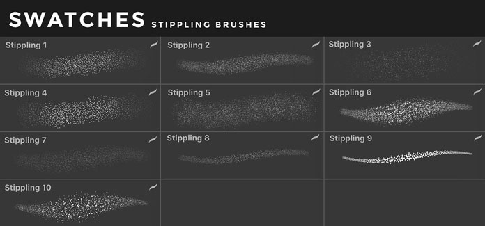 Stippling brushes for iOS app Procreate for iPad.