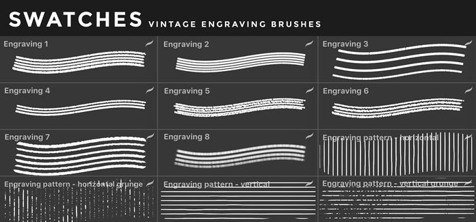Vintage engraving brushes for iOS app Procreate for iPad.