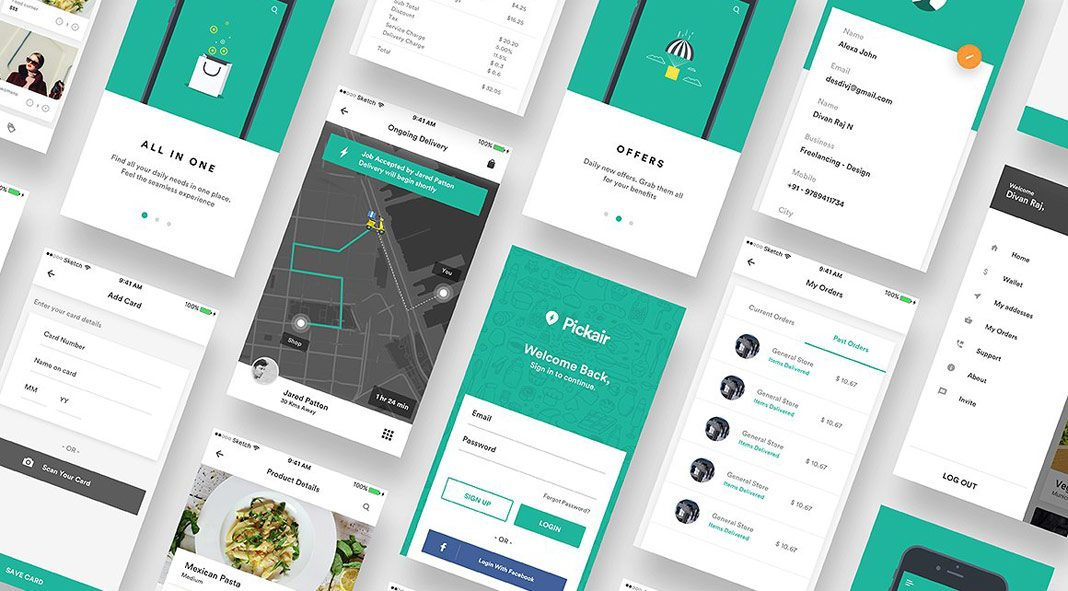 iOS ui kit for delivery and shopping apps.