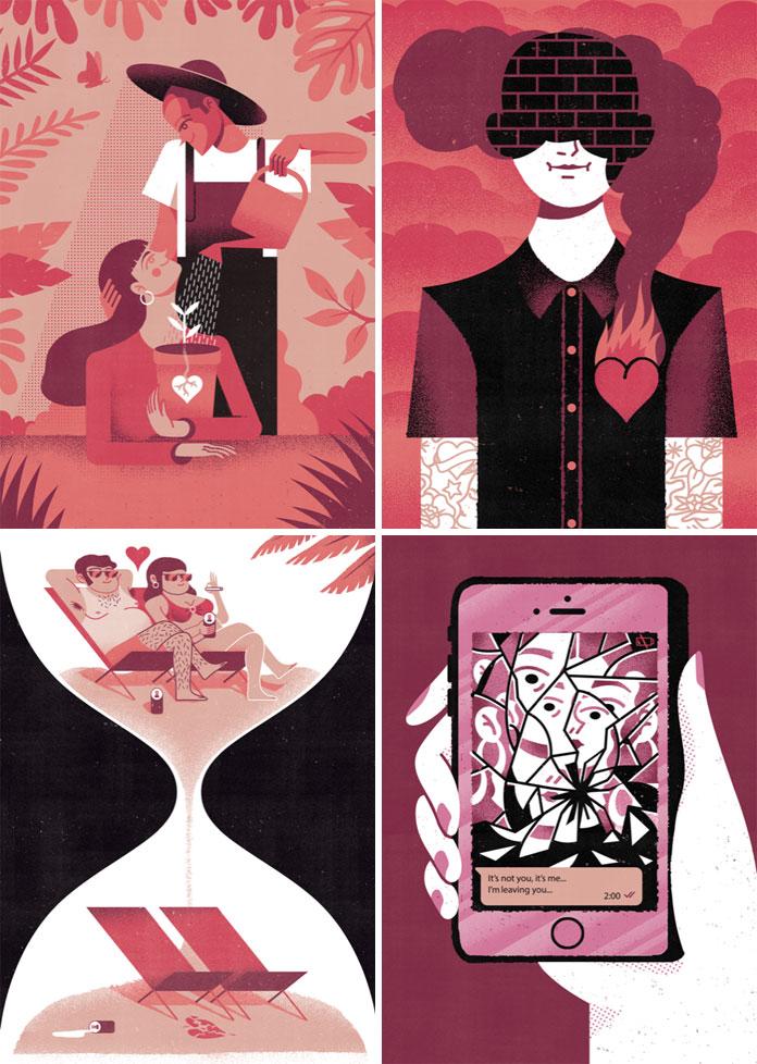 AMOR illustration series by Joan Alturo.