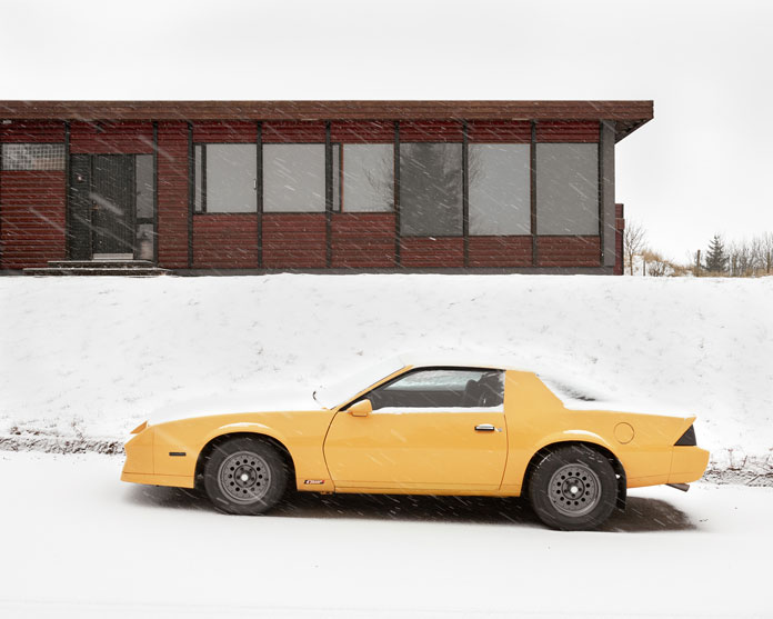 Balint Alovits Photography, A shiny yellow car in the snow.