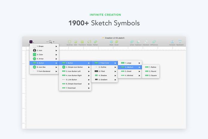 More than 1900 sketch symbols.