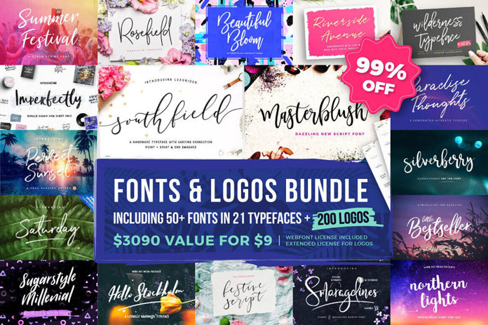 Over 50 fonts and more than 200 logos for only $9!