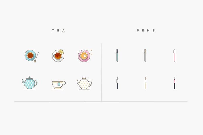 Tea and pens