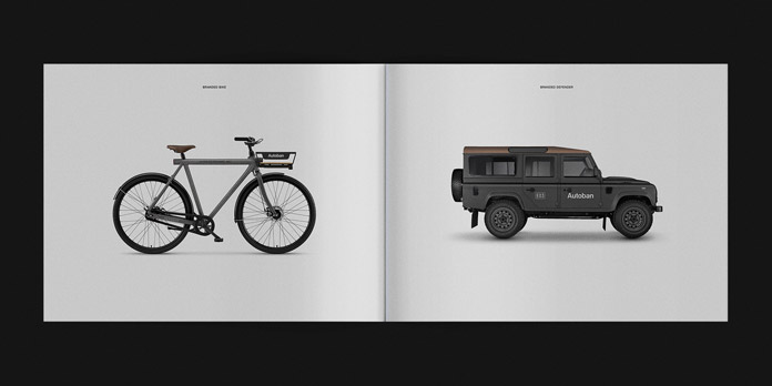 Branded bike and Defender.