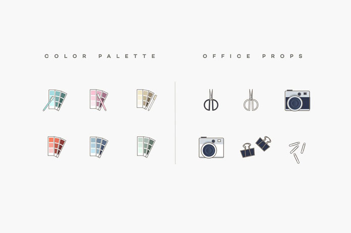 Color palette and office props