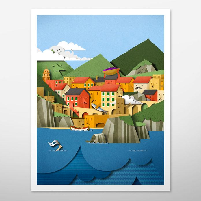 Le Cinque Terre - lovely papercut poster design