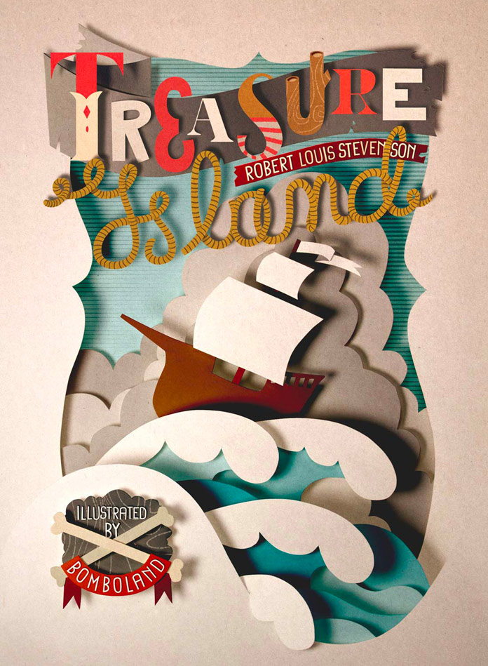 Treasure Island illustration printed as high-quality inkjet poster