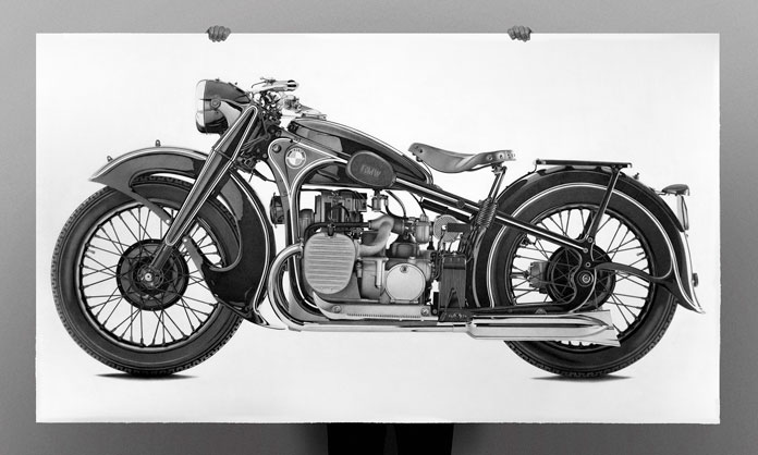 Pen drawing of a 1936 BMW R12.