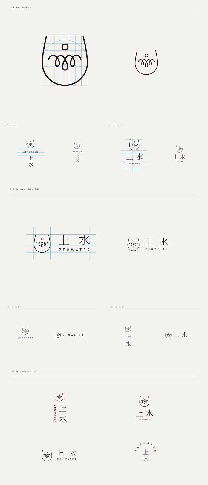 ZENWATER logo versions in Chinese and English.