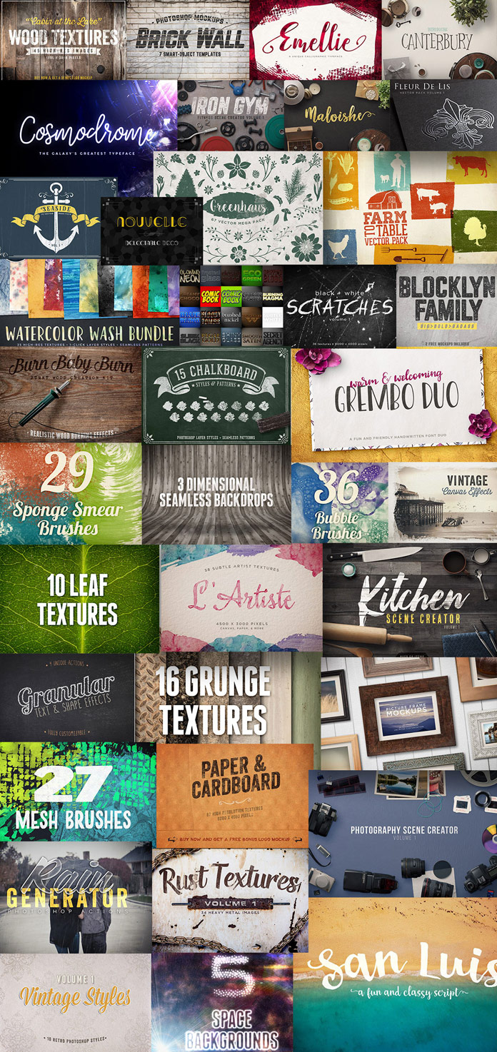 1199 high-quality fonts and design elements.
