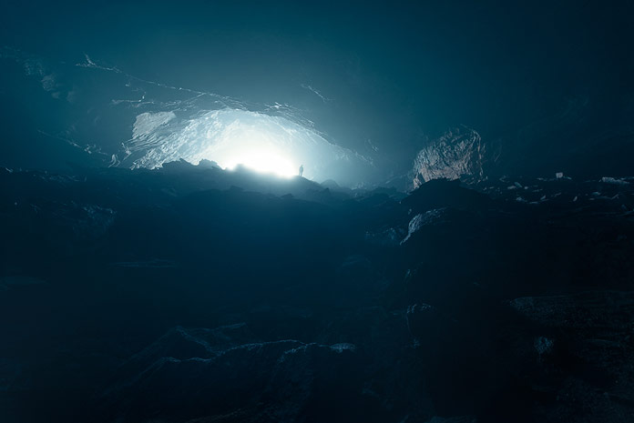 A light-flooded cave.