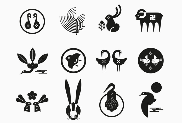 Simple logo designs in black and white.