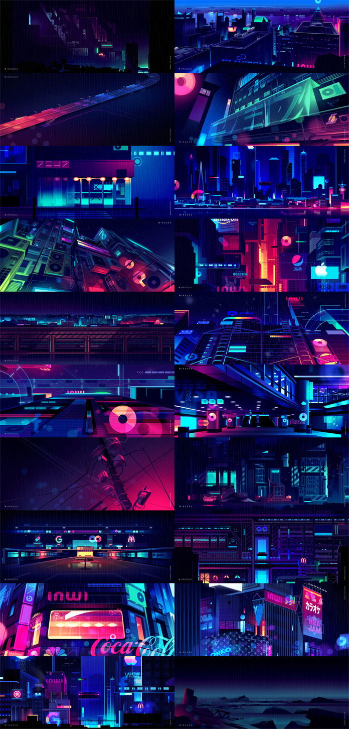 Mirages - colorful illustrations of nocturnal cityscapes by Romain Trystram.