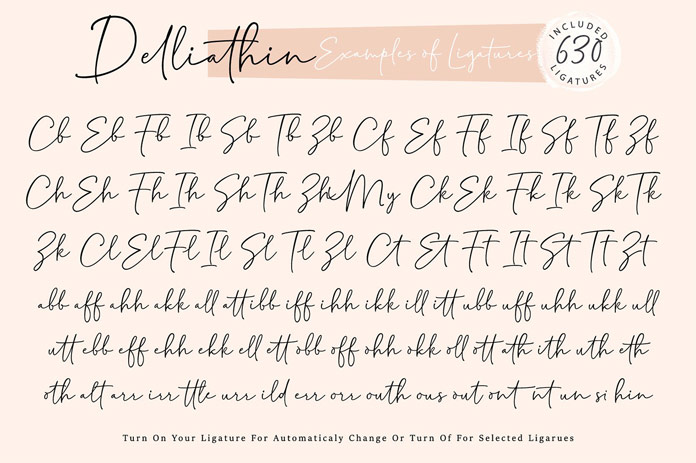 Delliathin font, example ligatures.
