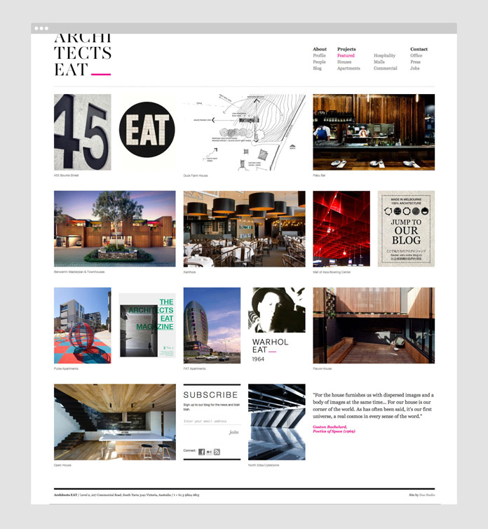 Architects Eat - website homepage.