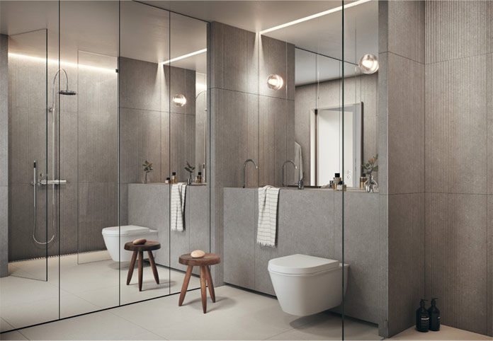 The interior concept in Gasklockan is characterized by pure and strong materials such as plaster, stone and glass.