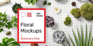 Floral mockups plus stationery templates