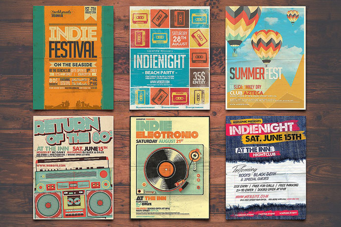Amazing flyer designs for music gigs, parties, and other events.