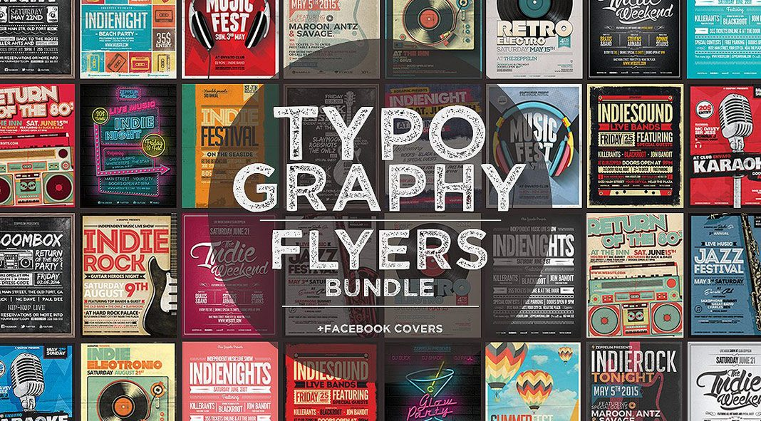 Typography Flyers and Facebook Covers from Zeppelin Graphics.