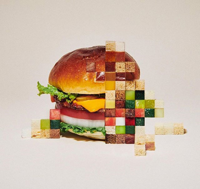 Pixelated food made by Yuni Yoshida.